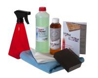 Reinigungs- und Pflegeset: HABiol 250 ml Holzpflegeöl, HARell Biocleaner, Sprühflasche, Mikrofasertuch, Schleifklotz und Tücher