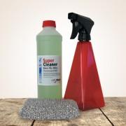 Reinigungsset klein rot: HARell Bio-Cleaner Universalreiniger Konzentrat  500 ml, Sprühflasche rot und Spezialschwamm